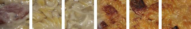 Gratin de pâtes aux saucisses fumées
