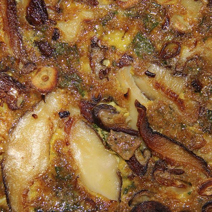 Omelette Shiitake frais ail et coriandre
