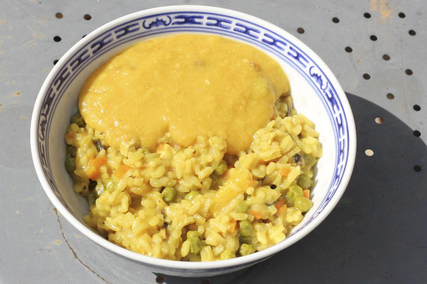 Risotto de poulet au curry