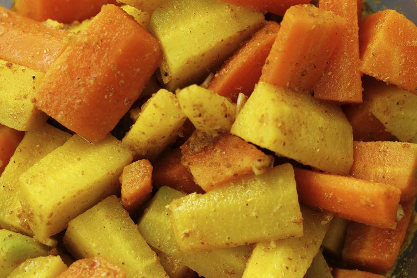 Salade de carottes, ras el hanout et citron